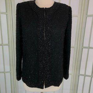 Laurence Kazar Evening Sequin Jacket Beaded Black